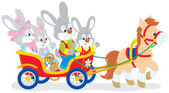 Easter bunnies riding a pony carriage
