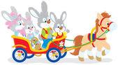 Osterhasen Reiten ein Ponywagen