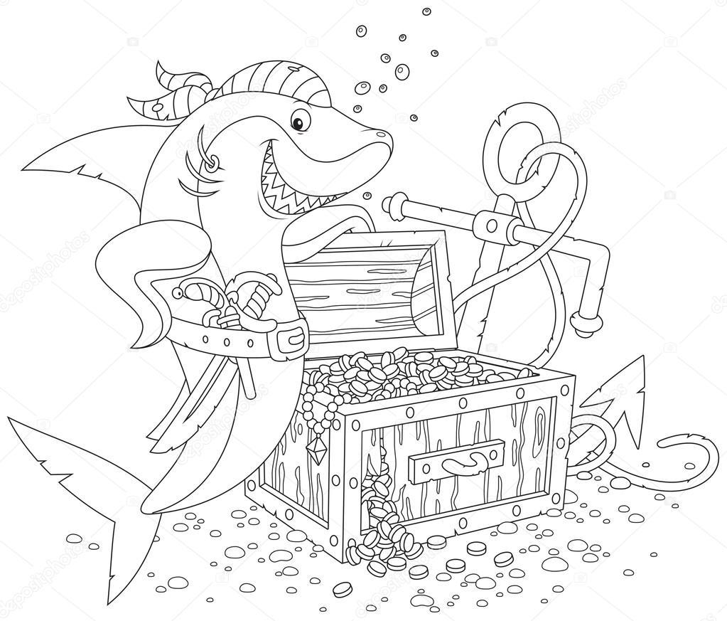 tubarão pirata com um baú de tesouro vetores de stock