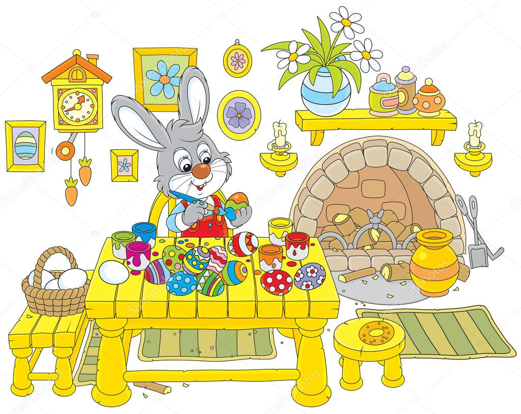 Bunny paints Easter eggs
