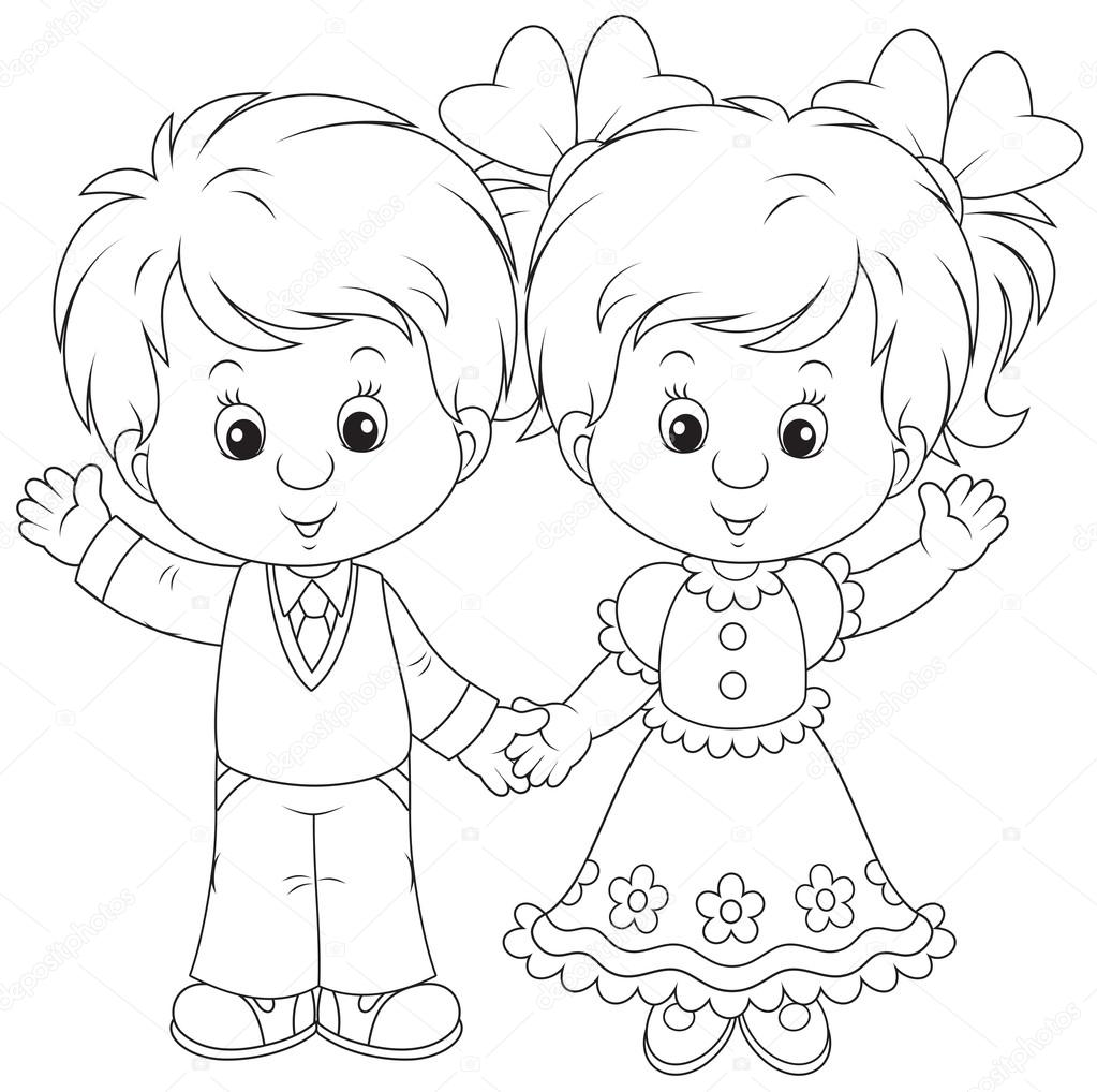 coloring pages little boy and girl | Little boy and girl waving — Stock Vector © AlexBannykh ...