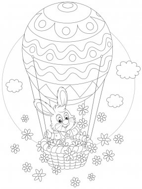 Easter Bunny flying in a balloon
