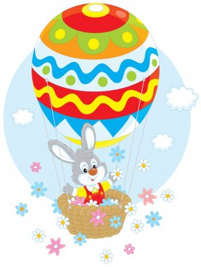 Easter Bunny in a balloon