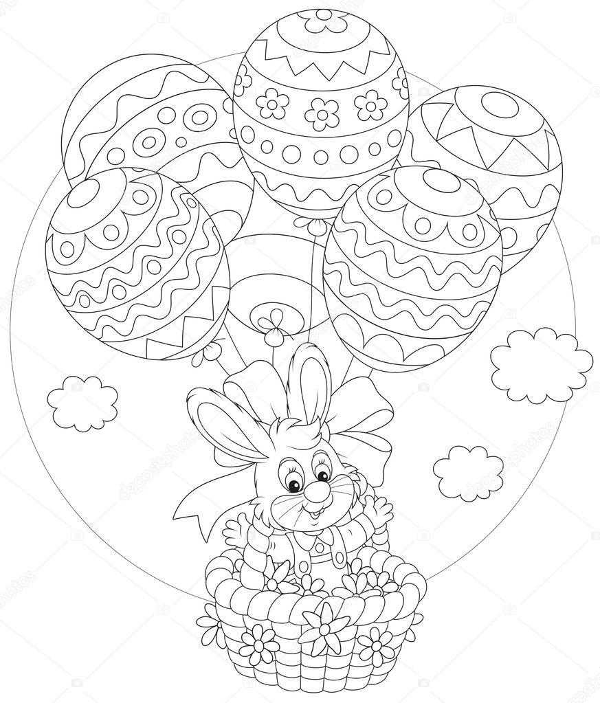 luchtballon met mandje en baby kleurplaat