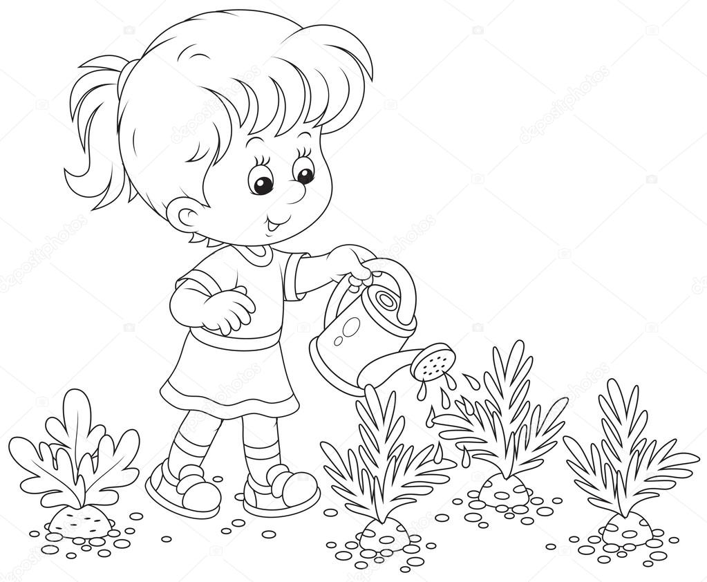 Imágenes Personas Regando Plantas Para Colorear Chica
