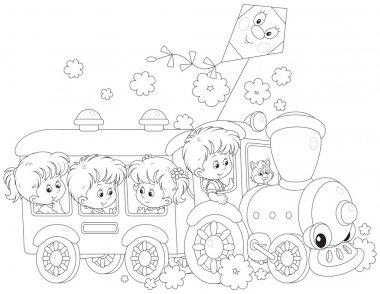 Children travel by train