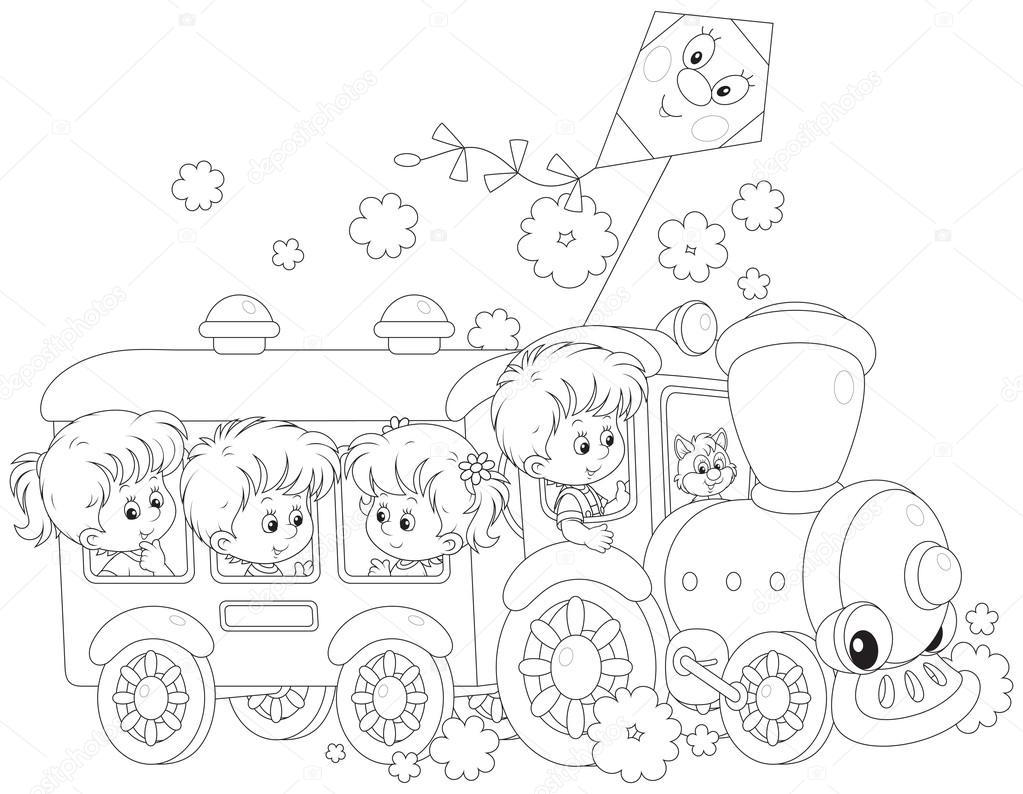 los niños viajan en tren — Archivo Imágenes Vectoriales ...