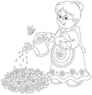 Granny watering flowers