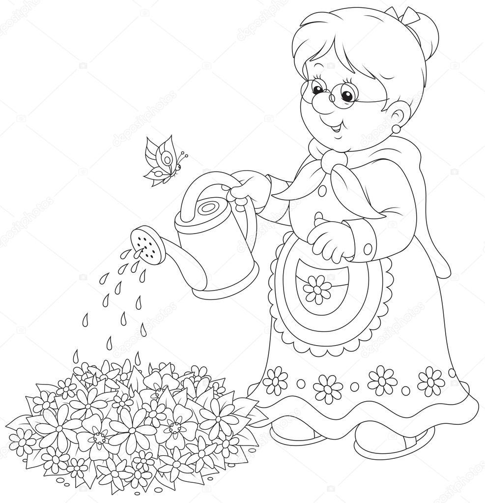 Büyükanne Sulama çiçekler Stok Vektör Alexbannykh 44747677