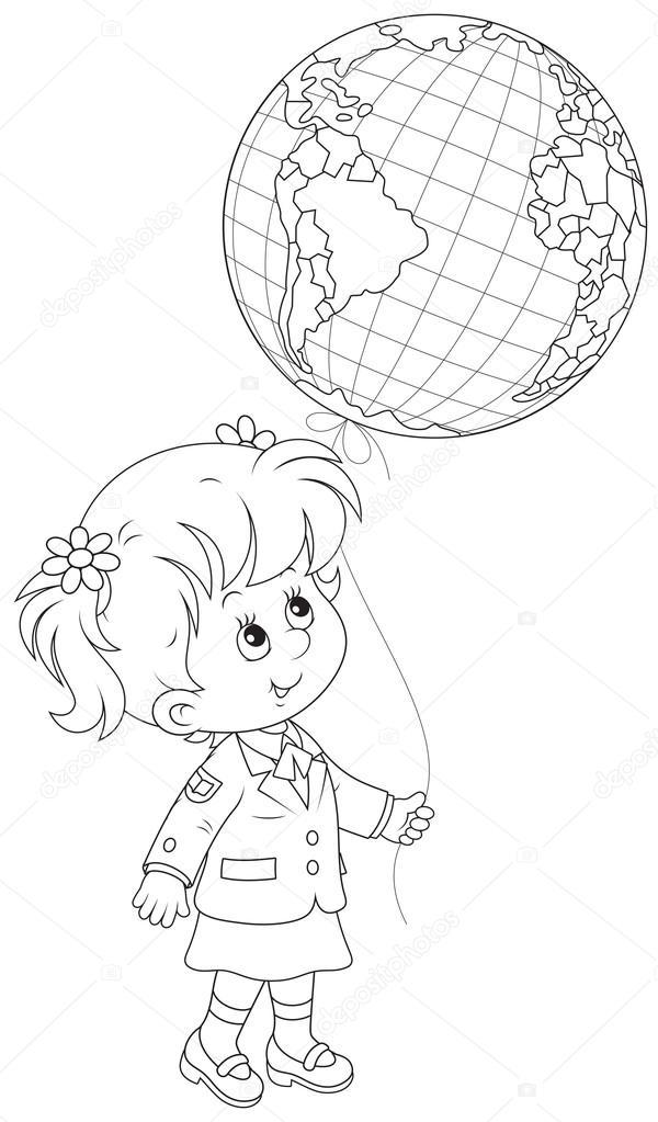Kız öğrenci Tutan Bir Küre Balon Stok Vektör Alexbannykh 44882473