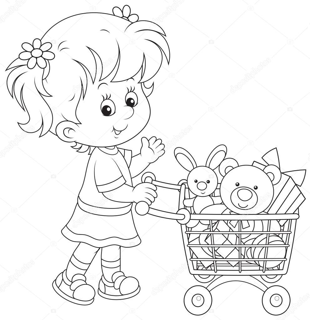 meisje met een winkelwagentje speelgoed stockvector