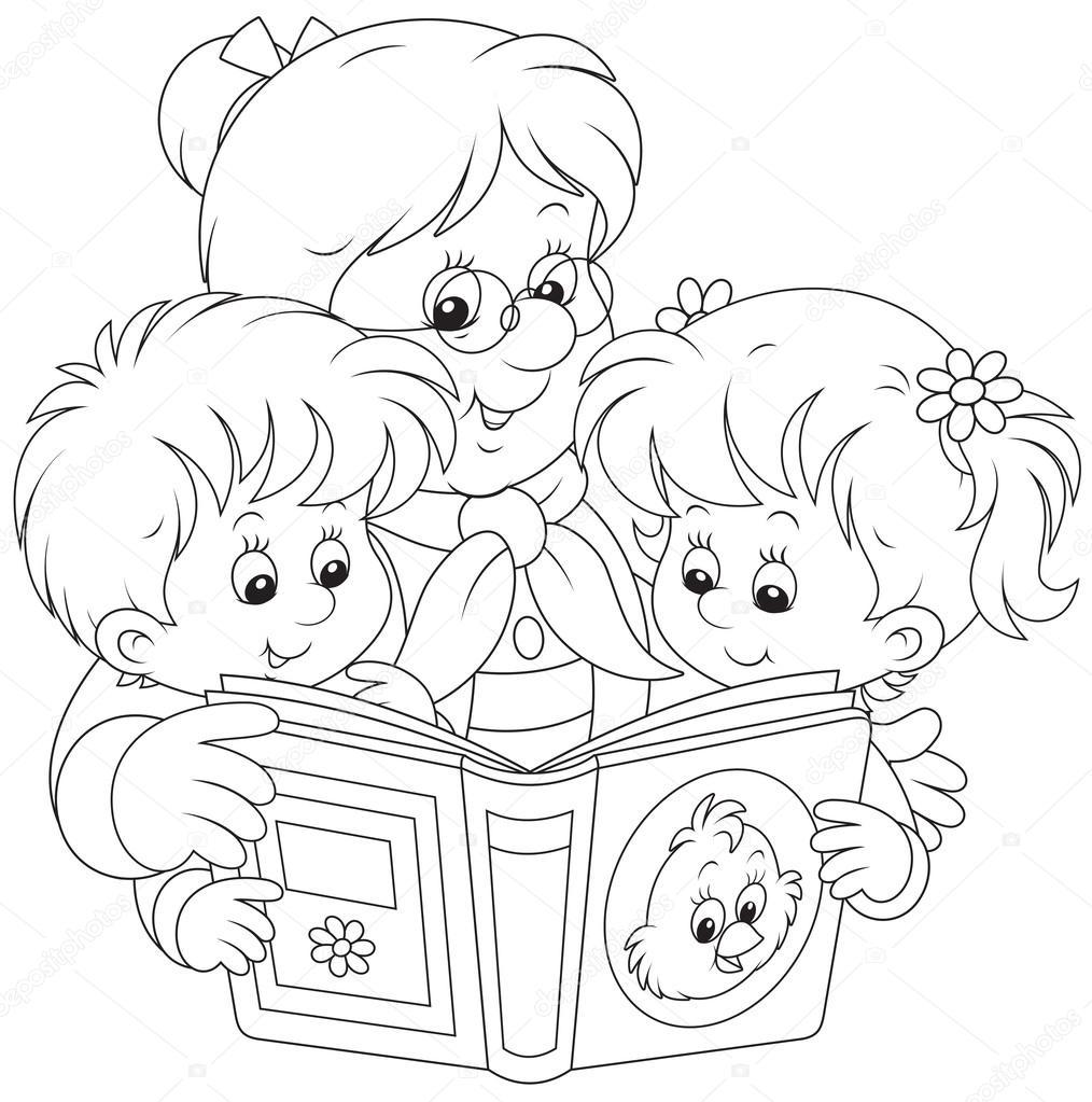 Dibujos Abuelas Y Nietas La Abuela Y Nietos De Lectura Vector