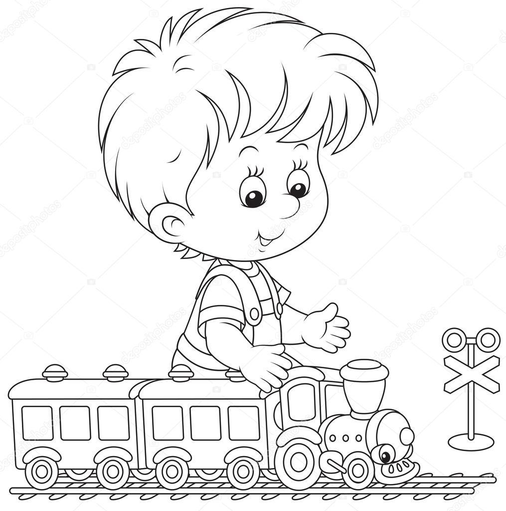 niño jugando con un tren — Archivo Imágenes Vectoriales ...
