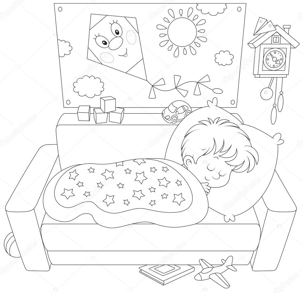 Imágenes Niña Durmiendo Para Colorear Niño Durmiendo Vector De