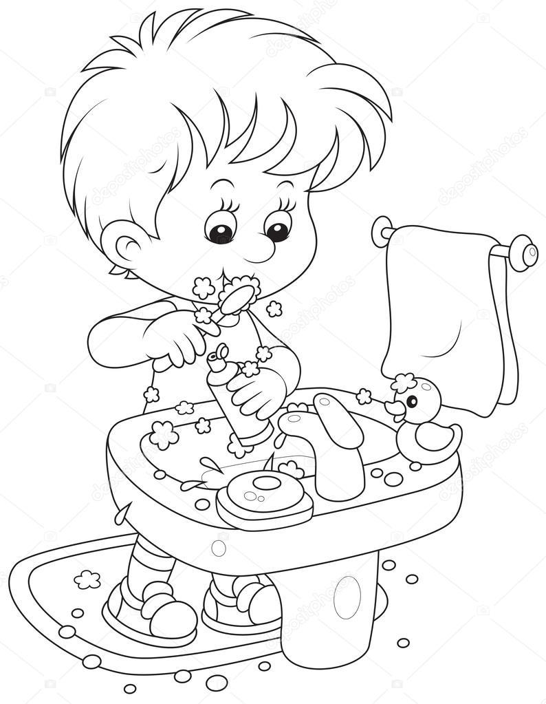Imágenes Niños Lavandose Los Dientes Para Colorear Niño