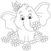malý slon s květinami