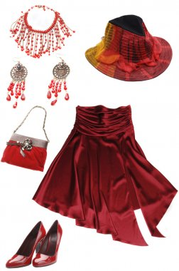 red lady's clothes and accessories