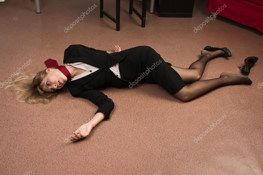 Lifeless business woman lying on the floor imitation for On the floor on the floor