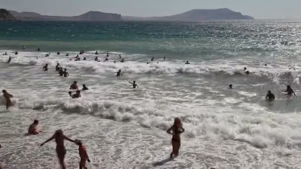 Crowd of enjoying sea beach