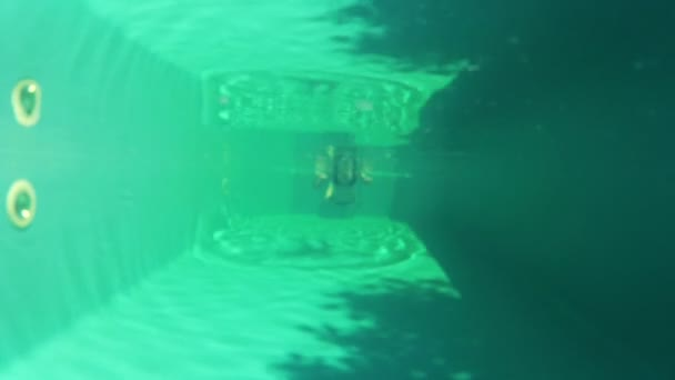 hezká dívka v bikinách, koupání v bazénu pod vodou