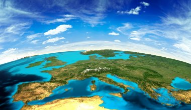 Europe landscape from space. Elements of this image furnished by NASA stock vector
