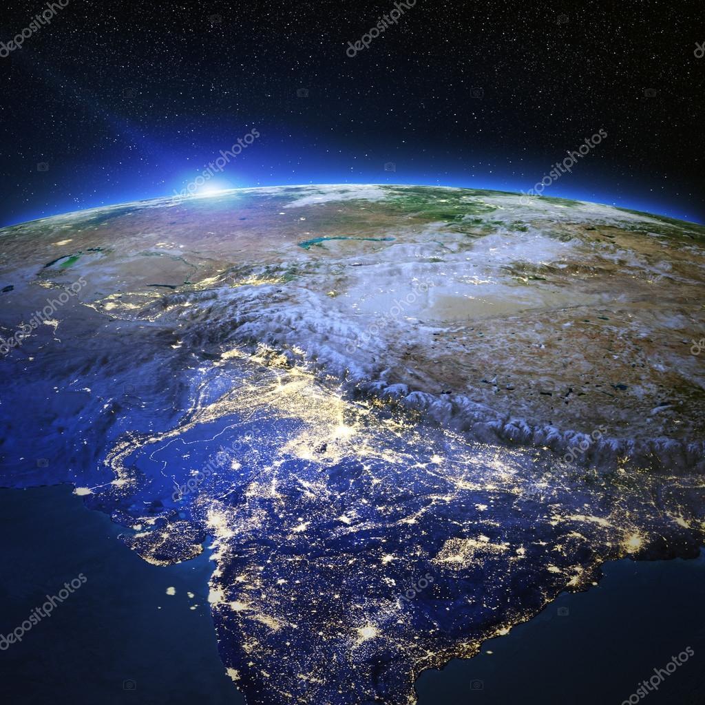 India and Tibet city lights