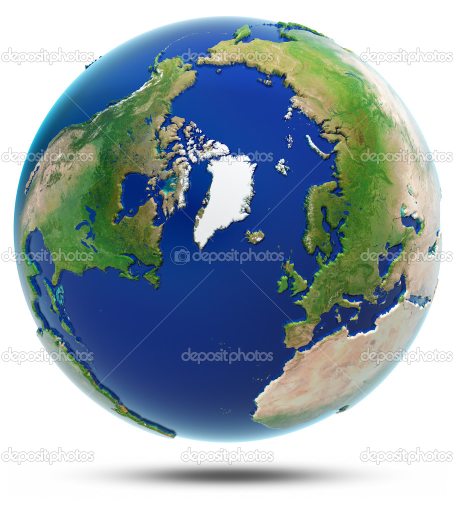 Earth North 3d Map Arctic Stock Photo C 1xpert 50373543