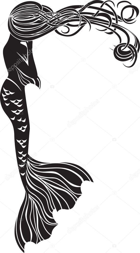 crying mermaid stencil � stock vector 169 kristino0702 33974695