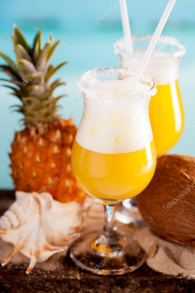 Cocktail of pineapple, rum, liqueur