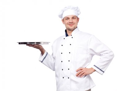 Chef holding empty tray