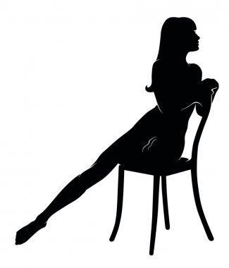 female silhouette on a chair