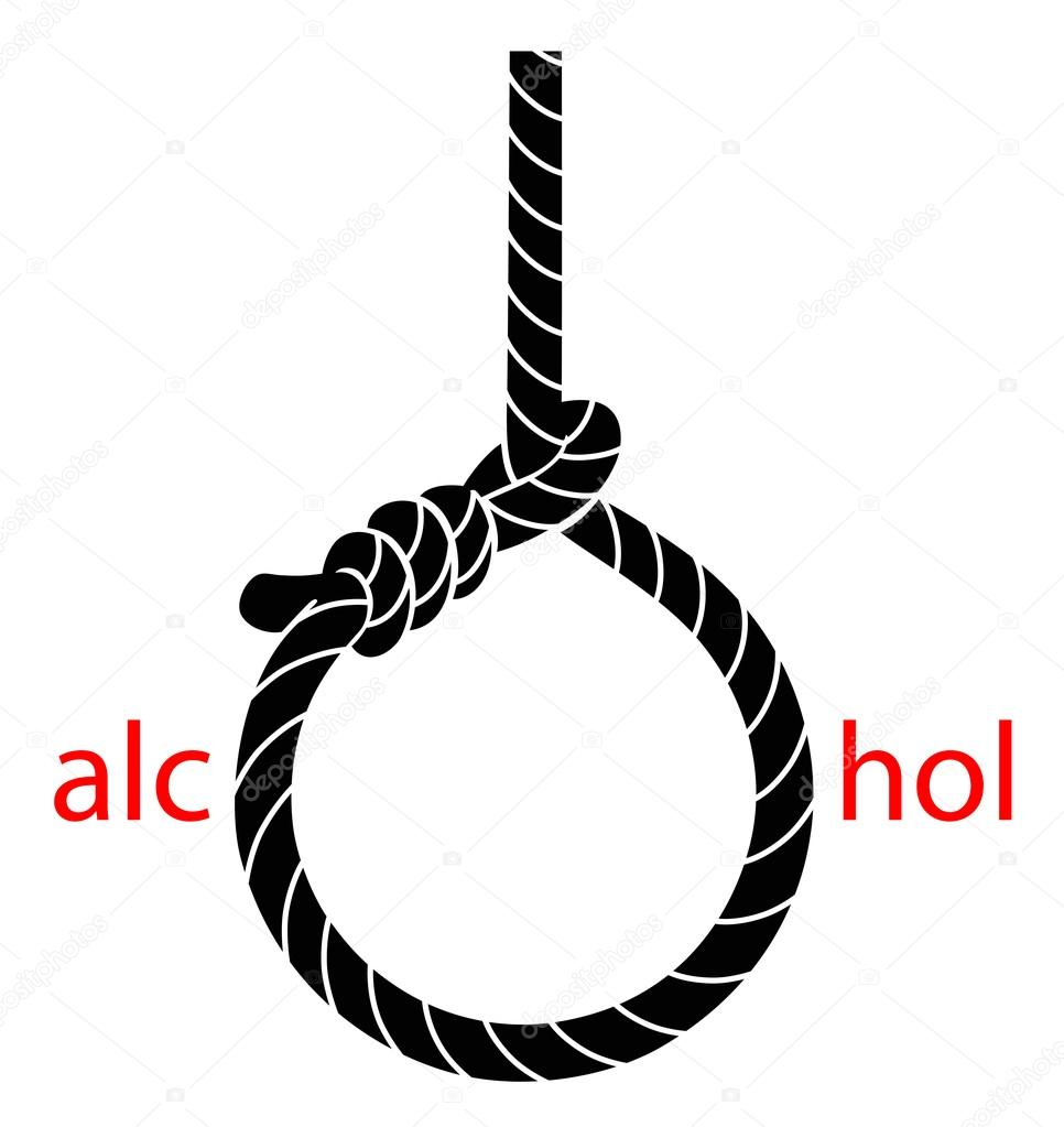 Hangmans Noose With Protest Against Alcohol Stock Vector