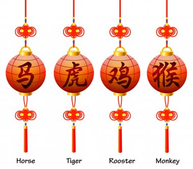 Chinese symbols on the lantern. Signs of the Zodiac. Rooster, horse, monkey, tiger