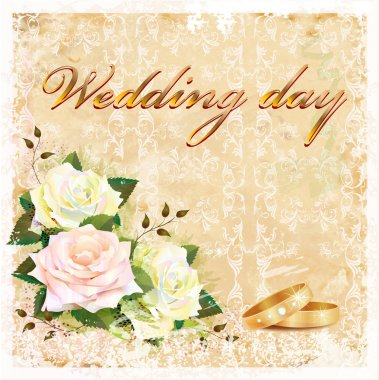 Vintage wedding card with roses and rings