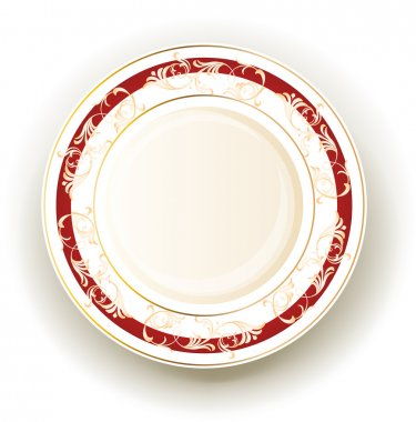 Realistic plate with floral design