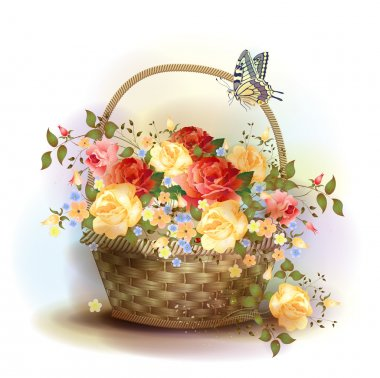 Wicker basket with roses. Victorian style. stock vector