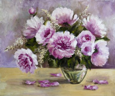 bouquet of peonies in a glass vase