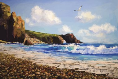 Sea landscape with seagull