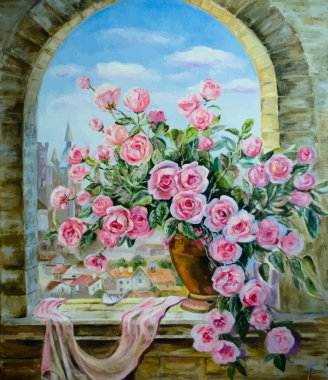 Vector picture oil paints on a canvas: a bouquet of peonies at the window clip art vector