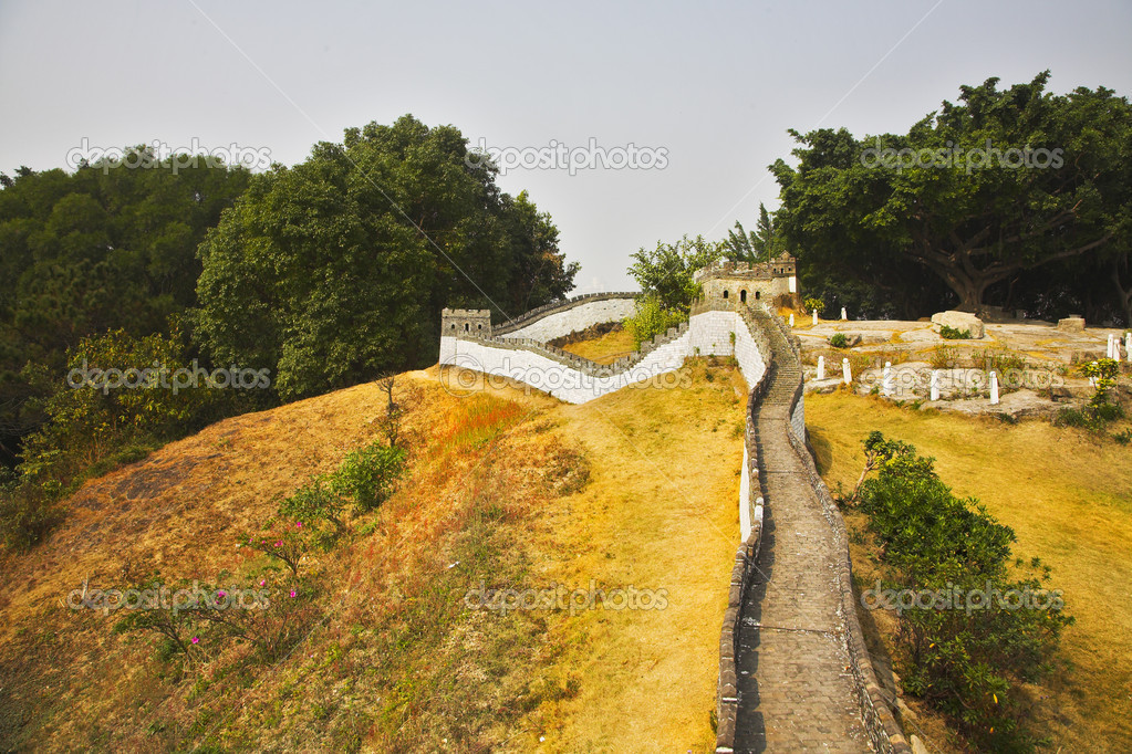 The reduced copy of the Great Chinese wall in the park