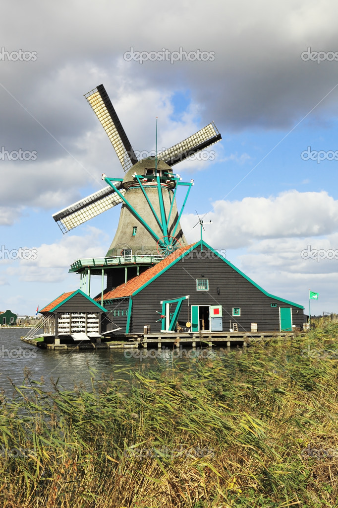 Traditional windmills and farm buildings