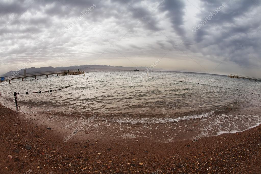 Early spring on a beach of Red sea in Israel.