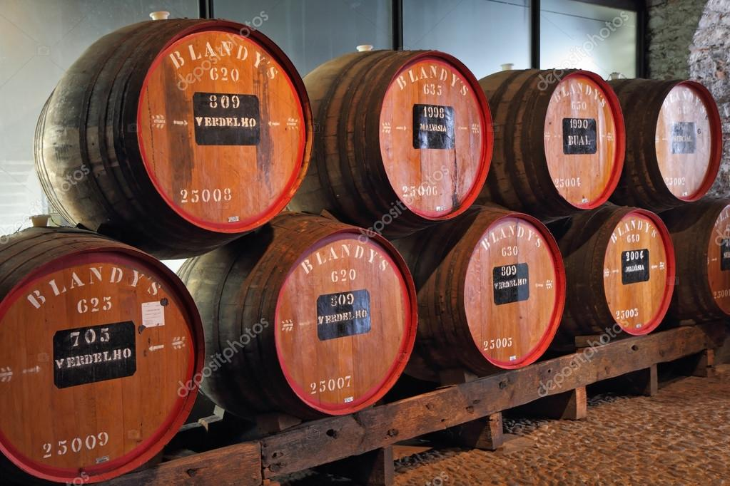 Classic huge oak barrels of wine Madera