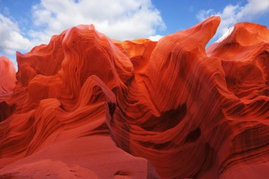 The red and orange colors in the famous Antelope Canyon in the N