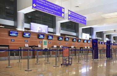 Sheremetyevo airport terminal. Aeroflot to Moscow.