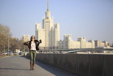 Beautiful girl walking around Moscow.