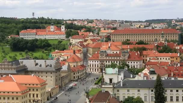 Palace Square of Prague Castlethe (view from tower of Saint Vitus Cathedral). Timelapse View
