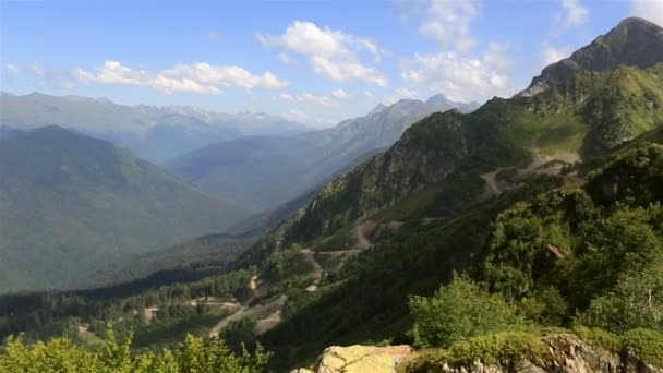 Panorama of the Caucasian mountains in Krasnaya Polyana (view from the cable car).