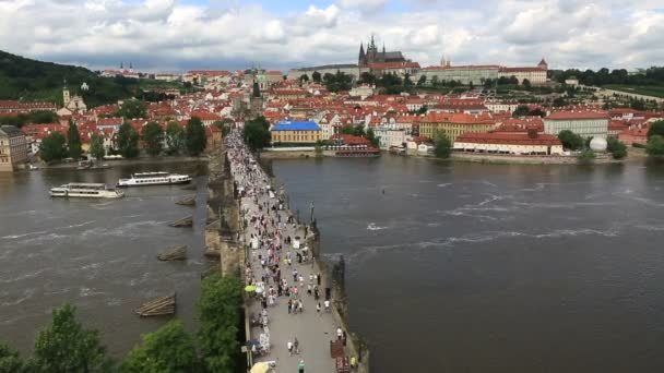 Charles Bridge (medieval bridge in Prague on the River Vltava). Timelapse View
