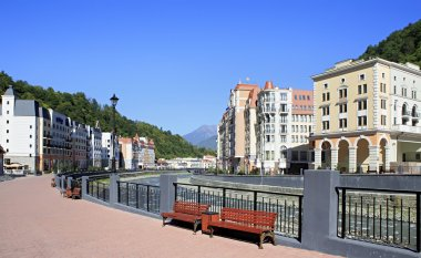 Embankment of Rosa Khutor Alpine Resort. Krasnaya Polyana.